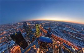 Preview wallpaper Moscow, city, skyscrapers, evening, top view, lights