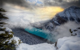 Mountains, snow, trees, fog, river, winter
