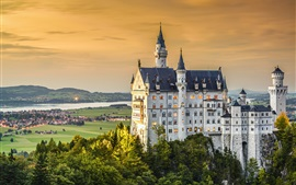 Neuschwanstein, castle, dusk, Germany