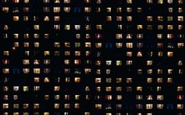 Noche, casas, ventanas, luz