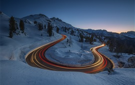 Night, winter, snow, road, light lines