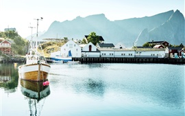 Preview wallpaper Norway, Lofoten Islands, yacht, bay, boats, houses