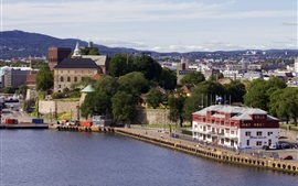 Preview wallpaper Norway, Oslo, buildings, trees, city, river
