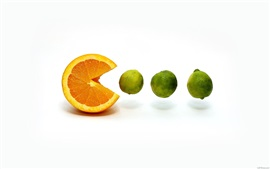 Preview wallpaper Orange eat lemon, white background
