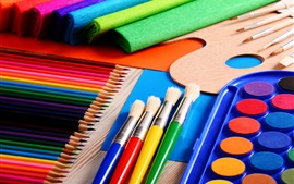 Preview wallpaper Painting tools, pencils, brush, colorful
