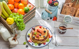 Preview wallpaper Pancakes, apples, oranges, grapes, bananas, lemon