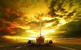 Avião de passageiros, pista, vista traseira, noite, brilho, nuvens