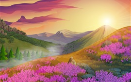 Pink flowers, mountains, sun, nature landscape, vector design