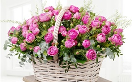 Preview wallpaper Pink roses, basket, room
