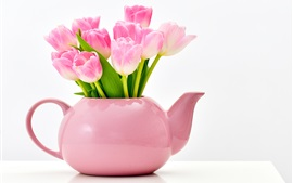 Preview wallpaper Pink tulips, vase, white background