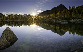Preview wallpaper Poschiavo, mountains, trees, lake, Switzerland