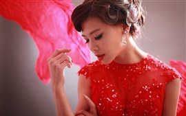 Preview wallpaper Red dress Chinese girl, pose