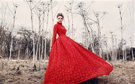 Preview wallpaper Red dress girl model, trees