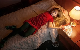 Preview wallpaper Red dress little girl in bed, lamp, bedroom
