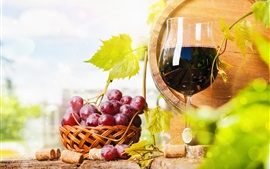 Preview wallpaper Red grapes, wine