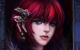 Red hair fantasy girl, face