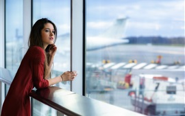 Preview wallpaper Red skirt girl, window, airport