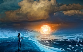 Preview wallpaper Romantically Apocalyptic, mountains, clouds, human, lights ball, art picture