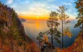Preview wallpaper Russia, Lake Baikal, Siberia, trees, sunset, mountains