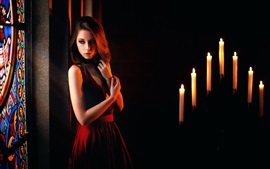 Preview wallpaper Sadness girl, candles, flame
