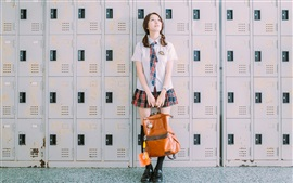 Preview wallpaper School girl, bag, lockers