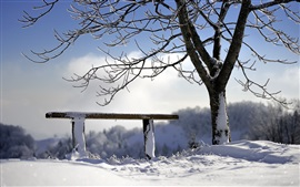 Preview wallpaper Snow, tree, bench, winter