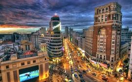 Espagne, Madrid, rue de la ville, route, bâtiments, nuit, lumières
