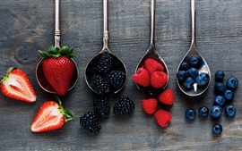 Preview wallpaper Spoons, strawberries, raspberries, blueberries
