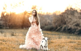 Sweet girl and lamb