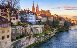 Switzerland, Basel, houses, river, city