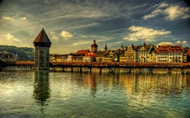 Preview wallpaper Switzerland, Lucerne, bridge, river, houses