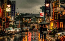 Preview wallpaper Taiwan, city, street, stores, rainy