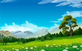 Árboles, manzanilla, hierba, montañas, imagen vectorial
