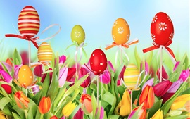 Preview wallpaper Tulips field, flowers, colorful eggs, Easter