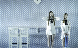 Preview wallpaper Two girls, white dress, room