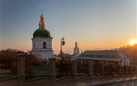 Preview wallpaper Ukraine, dawn, street, church, monastery, sunrise