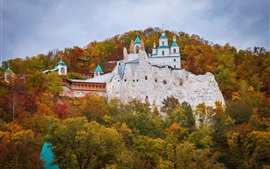 Preview wallpaper Ukraine, monastery, church, autumn, forest
