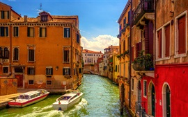 Venice, Italy, bridge, boats, river, houses