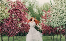 Preview wallpaper White dress girl, red hair, spring, flowers