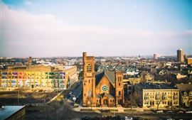 Preview wallpaper Wisconsin, Milwaukee, United States, church, street, city, buildings
