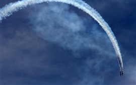 Airplanes, aerobatics, sky, smoke