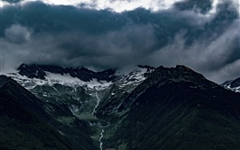 Preview wallpaper Alps, mountains, fog, clouds, creek, Italy nature landscape