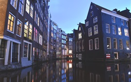 Preview wallpaper Amsterdam, Netherlands, houses, canal, lights, dusk