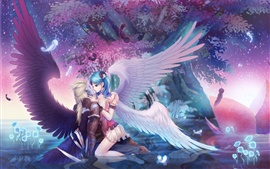 Preview wallpaper Angel girl kiss boy, wings, trees, beautiful anime picture