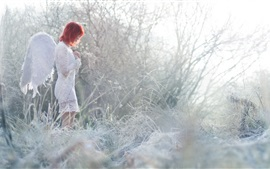 Preview wallpaper Angel girl, red hair, grass, winter