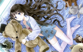Anime girl and toy bear, room, bed