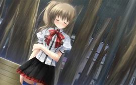 미리보기 배경 화면 비가 오는 애니메이션 소녀