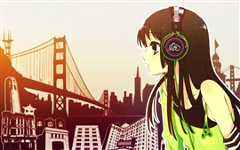 Preview wallpaper Anime girl listen music, headphones, city