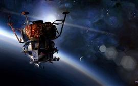 Apollo-9 spaceship, space, planets