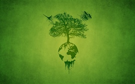 Preview wallpaper Art drawing, tree, earth, green